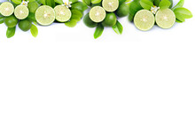 Fresh Lime And Green Leaf Frame And Border Isolated On White Background With Copy Space