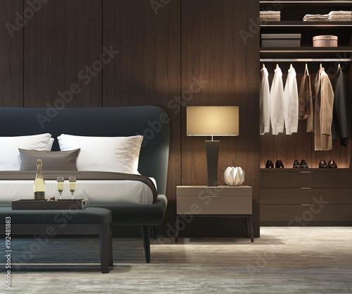 Modern luxury bedroom with dark wood walk in closet closeup - Buy ...