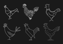Set Of Sketches Of A Rooster. Stylized Icons In Vector Graphics. Blank Badges For Brands