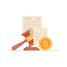 Golden Bitcoin Coin, Paper She...