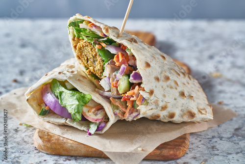 vegan food- tasty falafel wrap in gluten free bread