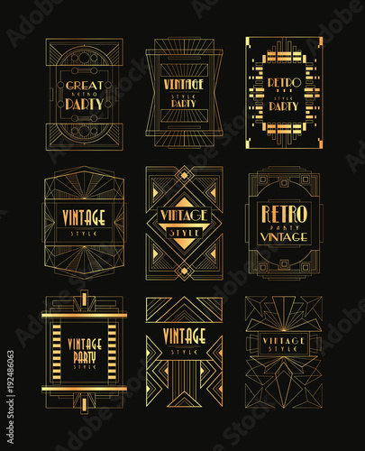 Vintage Collection Of Golden Art Deco Frames Luxury Vector Emblems