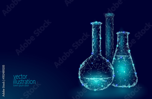 Low poly science chemical glass flasks. Magical equipment polygonal triangle blue glowing research future technology business medicine concept vector illustration