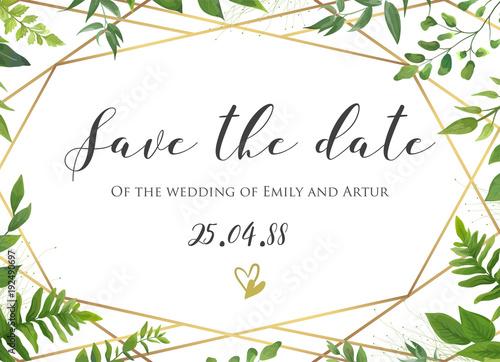 Vector Botanical Wedding Floral Save The Date Invite Card Elegant Modern Design With Natural