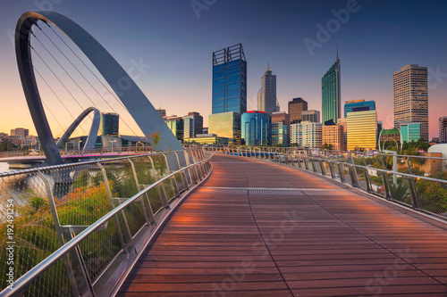 Foto op Aluminium Oceanië Perth. Cityscape image of Perth downtown skyline, Australia during sunset.