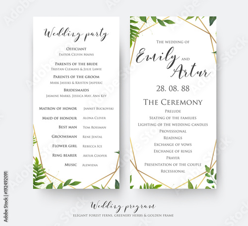 wedding program card for ceremony and party with modern vector