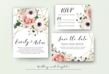 Wedding Invite, Invitation, Rsvp, Save The Date Card Design With Elegant Lavender Pink Garden Rose Anemone, Wax Flowers Eucalyptus Branches Leaves, Cute Golden Geometrical Pattern. Vector Template Set