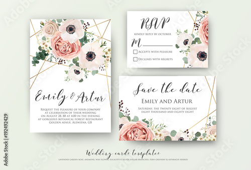 Obraz Wedding invite, invitation, rsvp, save the date card design with elegant lavender pink garden rose anemone, wax flowers eucalyptus branches leaves, cute golden geometrical pattern. Vector template set - fototapety do salonu