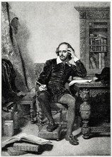 Portrait Of English Playwright William Shakespeare, Painting Of John Faed, Engraved By James Faed (from Spamers Illustrierte Weltgeschichte, 1894, 5[1], 717)