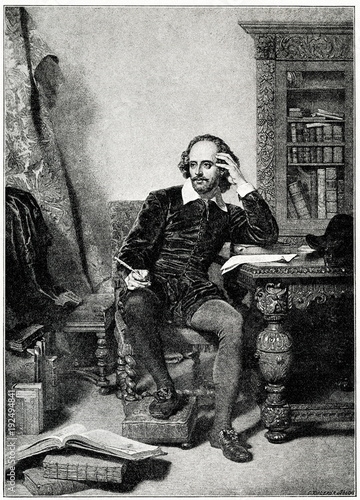 Portrait of English playwright William Shakespeare, painting of John Faed, engra Poster