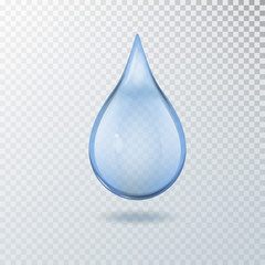 Realistic vector 3d transparent blue water drop isolated.