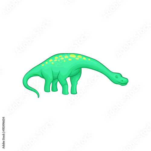 Apatosaurus dinosaur with long neck, tail and yellow spots on back Poster