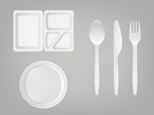Vector 3d Realistic Disposable Plastic Lunch Box With Partition, Plate, Cutlery - Spoon, Fork, Knife. Picnic Party Tableware Isolated Icons Set On Gray Background. Template, Mockup Of Eco Kitchenware