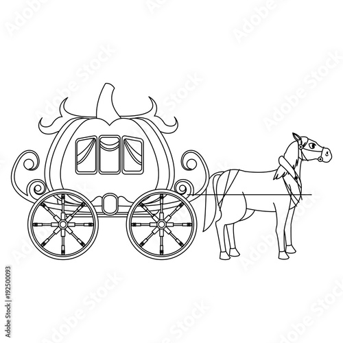 Pumpkin Carriage With Horse Cartoon Icon Vector Illustration Graphic