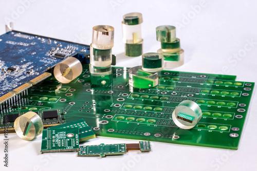 Fotografie, Obraz  printed circuit boards and PCB samples in epoxy resin