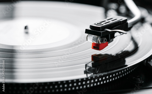 closeup of a turntable