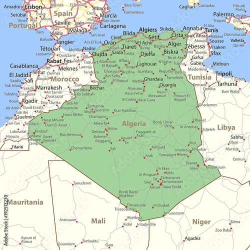 Algeria-World-Countries-VectorMap-A Canvas Print