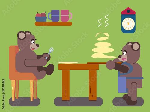 Fotografía  Cartoon brown bears prepares pancakes