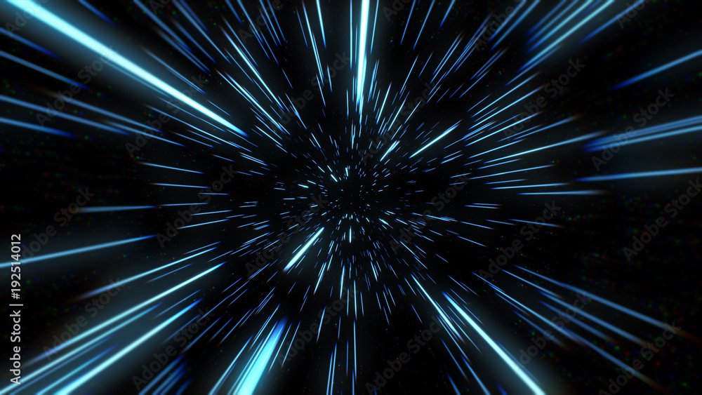 Fototapety, obrazy: Abstract of warp or hyperspace motion in blue star trail. Exploding and expanding movement 3d illustration