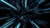 Fototapeta Kosmos - Abstract of warp or hyperspace motion in blue star trail. Exploding and expanding movement 3d illustration