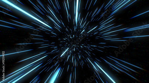 Aluminium Prints Universe Abstract of warp or hyperspace motion in blue star trail. Exploding and expanding movement 3d illustration