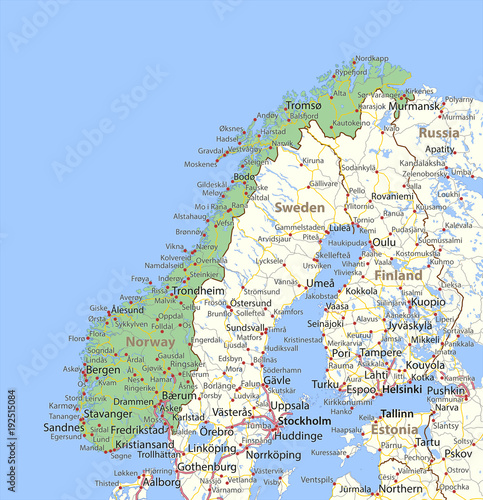 Fototapeta Norway-World-Countries-VectorMap-A