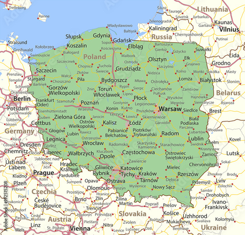 Fotografie, Obraz Poland-World-Countries-VectorMap-A
