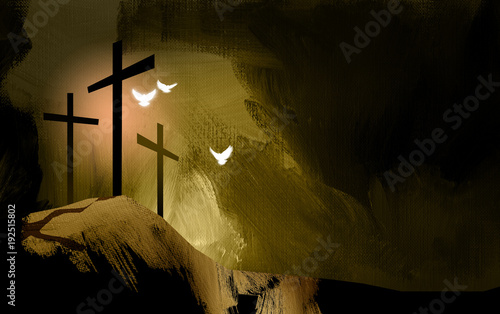 Photo Graphic Christian crosses of Jesus with spiritual doves / Simple, dramatic composition of the scene of Christ's ultimate sacrifice