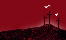 Graphic Christian Crosses Of Jesus Abstract With Spiritual Doves / Simple, Dramatic Composition Of The Scene Of Christ's Ultimate Sacrifice. Beautiful As Easter Or General Worship Art.