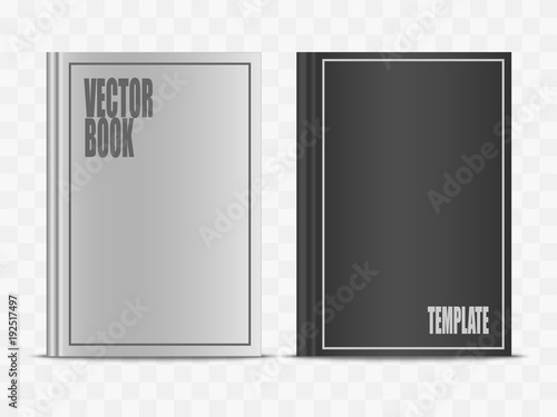 Valokuva  Vector realistic white and black book mock up isolated on transparent background