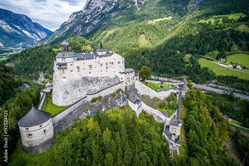 Festung Hohenwerfen. royal castle on a high mountain, a view of the valley between the Alps. View from above, Werfen. Burg Hohenwerfen