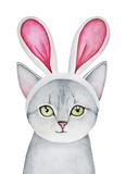 Easter Bunny Cat dressed up in Bunny Ears Headband. Silver gray tabby fluffy purebred, green round big eyes looking at camera, little one. Hand drawn watercolour drawing on white background, isolate. - 192525228