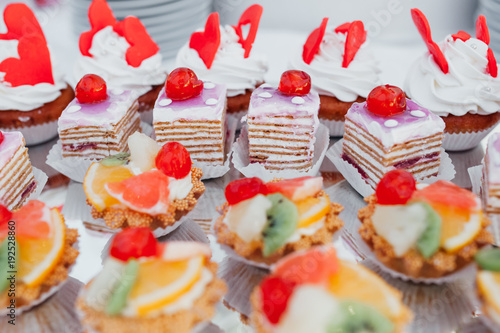 Luxury Wedding Catering Table With Modern Desserts Cupcakes Sweets Fruits Delicious