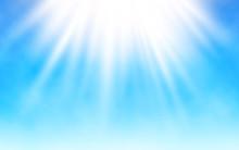 Shining Sun On Blue Sky. White...