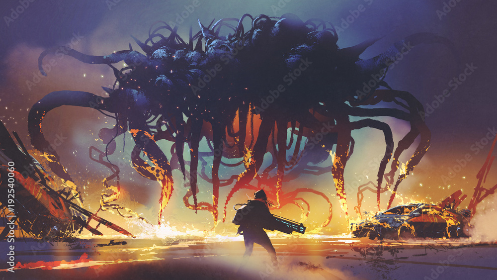 Fototapety, obrazy: fight scene between the human and giant monster, the man battling alien at night, digital art style, illustration painting