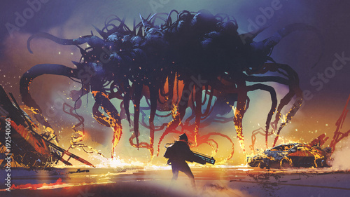 Printed kitchen splashbacks Grandfailure fight scene between the human and giant monster, the man battling alien at night, digital art style, illustration painting