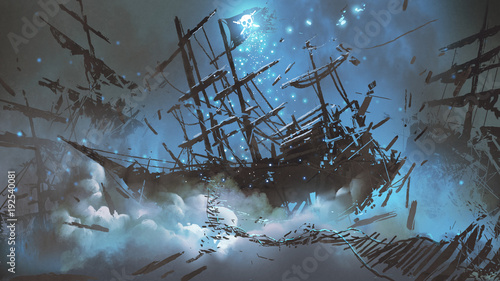 Fotografia wrecked ships with pirate skull flag filled with particles and dust floating in
