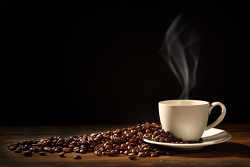 Cup of coffee with smoke an...