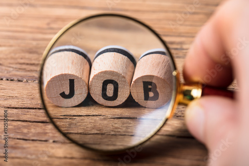 Obraz Human Hand Looking At Job Blocks - fototapety do salonu