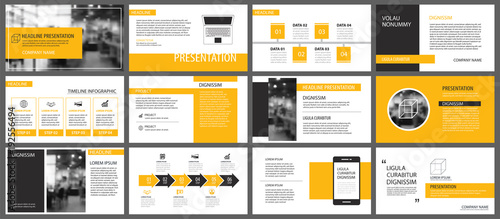 Fototapeta Yellow presentation templates and infographics elements background. Use for business annual report, flyer, corporate marketing, leaflet, advertising, brochure, modern style. obraz