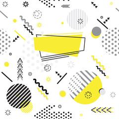 Fototapeta Wzory geometryczne Trendy Memphis style geometric pattern with bright geometric leaves foliage, vector illustration