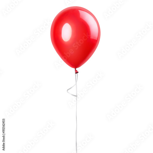 Red balloon isolated on a white background. Party decoration for celebrations and birthday