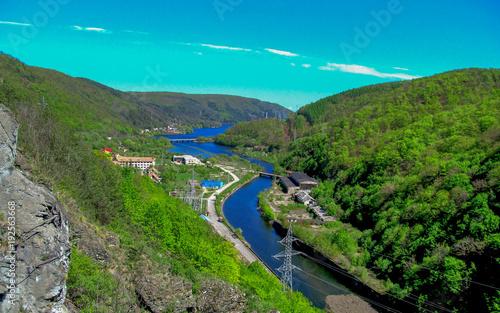 Spoed Foto op Canvas Turkoois Blue River, Tarnita, Romania, Cluj
