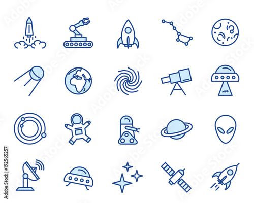 Space Vector Icon Set Wallpaper Mural