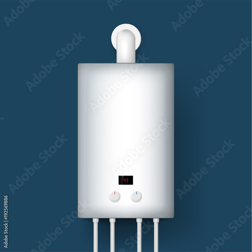 Home gas boiler, water heater. 3D rendering. isolated on background ...