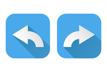Right And Left Curved Arrows. Square Blue Signs