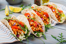 Mexican Tacos With Beef, Beans...