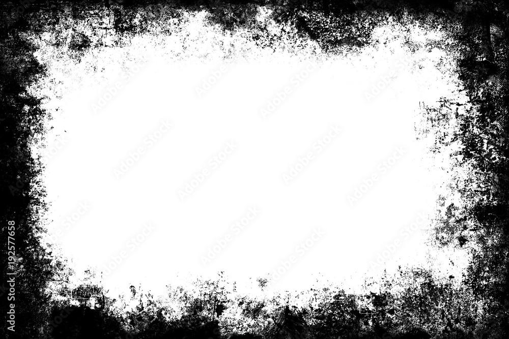 Black grunge texture border frame over white