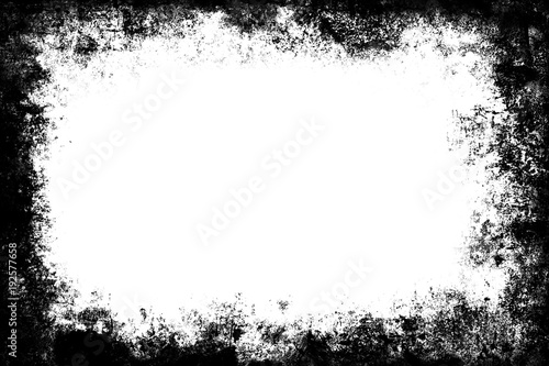 Fototapeta Black grunge texture border frame over white obraz