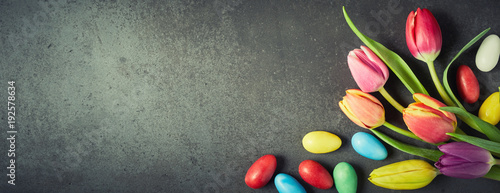 Fotografie, Obraz Easter banner with colorful eggs and tulips